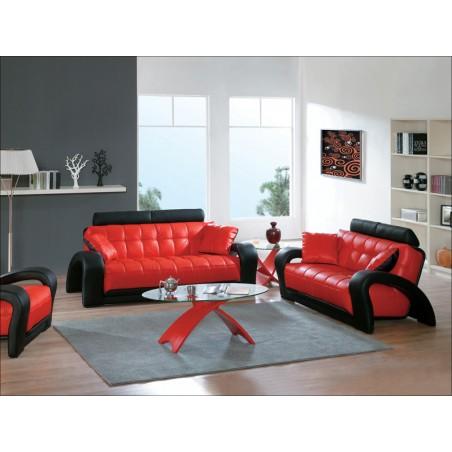SOFIA Komplet wypoczynkowy, czerwony-czarny